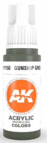 AK Interactive  AK Acrylics Gunship Green Acrylic Paint 17ml Bottle AKI11150