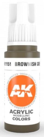 AK Interactive  AK Acrylics Brownish Green Acrylic Paint 17ml Bottle AKI11151