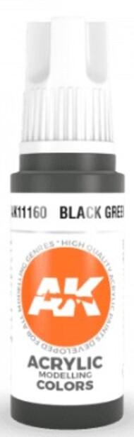 AK Interactive  AK Acrylics Black Green Acrylic Paint 17ml Bottle AKI11160