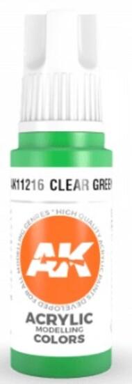 AK Interactive  AK Acrylics Clear Green Acrylic Paint 17ml Bottle AKI11216