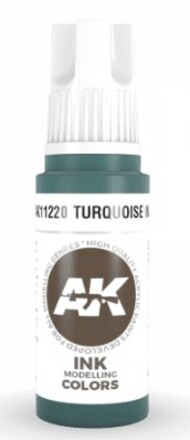 AK Interactive  AK Acrylics Turquoise Ink Acrylic Paint 17ml Bottle AKI11220