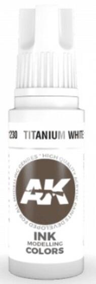 AK Interactive  AK Acrylics Titanium White Ink Acrylic Paint 17ml Bottle AKI11230