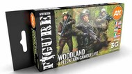 Figures Series: Modern Woodland & Flecktarn Camouflages Acrylic Paint Set (6 Colors) 17ml Bottles #AKI11632
