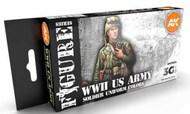 Figures Series: WWII US Uniforms Acrylic Paint Set (6 Colors) 17ml Bottles #AKI11634