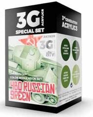 Modulation Series: Russian Green 4BO Acrylic Paint Set (4 Colors) 17ml Bottles #AKI11639