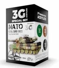 AFV Series: NATO Acrylic Paint Set (3 Colors) 17ml Bottles #AKI11658