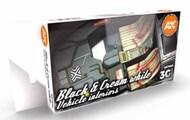 Cars & Civil Vehicles Series: Black Interior & Cream White Acrylic Paint Set (6 Colors) 17ml Bottles #AKI11683