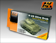 AK Interactive  AK Acrylic US Olive Drab Modulation Acrylic Paint Set (6 Colors) 17ml Bottles AKI131
