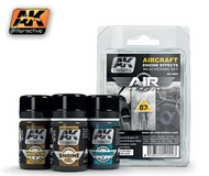 AK Interactive  AK Air Series Air Series: Aircraft Engine Effects Enamel Weathering Set (3 Colors) 35ml Bottles AKI2000