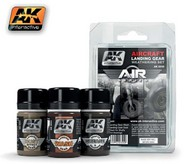 AK Interactive  AK Air Series Air Series: Aircraft Landing Gear Enamel Weathering Set (3 Colors) 35ml Bottles AKI2030