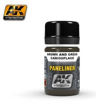 AK Interactive  AK Air Series Air Series: Panel Liner Brown & Green Camouflage Enamel Paint 35ml Bottle AKI2071