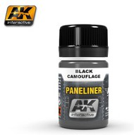 AK Interactive  AK Air Series Air Series: Panel Liner Black Camouflage Enamel Paint 35ml Bottle AKI2075