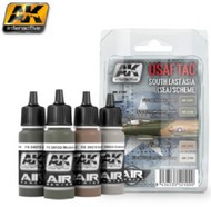 AK Interactive  AK Air Series Air Series: USAF TAC Southeast Asia (Sea) Scheme Acrylic Paint Set (4 Colors) 17ml Bottles AKI2100