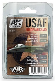 AK Interactive  AK Air Series Air Series: USAF European Camo Acrylic Paint Set (4 Colors) 17ml Bottles AKI2130