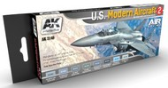 AK Interactive  AK Air Series Air Series: US Modern Aircraft 2 Acrylic Paint Set (8 Colors) 17ml Bottles AKI2140