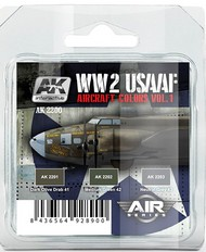 AK Interactive  AK Air Series Air Series: WWII USAAF Aircraft Vol.1 Acrylic Paint Set (3 Colors) AKI2200