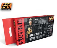 AK Interactive  AK Figure Series Figure Series: Panzer Crew Black Uniforms Acrylic Paint Set (6 Colors) 17ml Bottles AKI3001