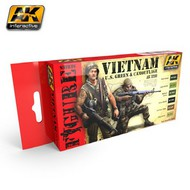 AK Interactive  AK Figure Series Figure Series: Vietnam US Green & Camouflage Acrylic Paint Set (6 Colors) 17ml Bottles AKI3200