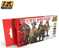 AK Interactive  AK Figure Series Figure Series: WWII British Uniform Colors Acrylic Paint Set (6 Colors) 17ml Bottles AKI3240