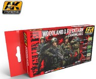 AK Interactive  AK Figure Series Figure Series: Woodland & Flecktarn Camouflage Acrylic Paint Set (6 Colors) 17ml Bottles AKI3250