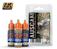 AK Interactive  AK AFV Series AFV Series: Australian Disruptive Pattern Camouflage Acrylic Paint Set (3 colors) 17ml Bottles AKI4020