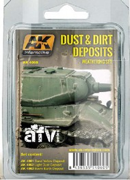 AK Interactive  AK AFV Series AFV Series: Dust & Dirt Deposits Weathering Enamel Paint Set (3 Colors) 35ml Bottle AKI4060