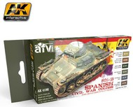 AK Interactive  AK AFV Series AFV Series: Spanish Civil War Colors 1936-1939 Acrylic Paint Set (6 Colors) 17ml Bottles AKI4190