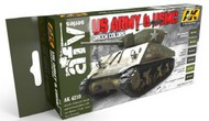 AK Interactive  AK AFV Series AFV Series: US Army & USMC Green Acrylic Paint Set (6 Colors) 17ml Bottles AKI4210