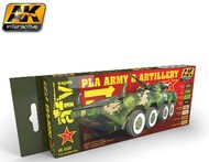 AK Interactive  AK AFV Series AFV Series: PLA Army & Artillery Acrylic Paint Set (8 Colors) 17ml Bottles AKI4240