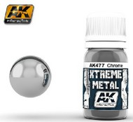 AK Interactive  AK Xtreme Xtreme Metal Chrome Metallic Paint 30ml Bottle AKI477