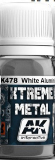 AK Interactive  AK Xtreme Xtreme Metal White Aluminum Metallic Paint 30ml Bottle AKI478