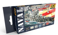AK Interactive  AK Acrylic Naval Series: US Navy WWII Camouflage Vol.2 Acrylic Paint Set (6 Colors) 17ml Bottles AKI5020