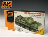 AK Interactive  AK Acrylic Russian Green 4BO Modulation Acrylic Paint Set (6 Colors) 17ml Bottles AKI553