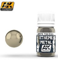 AK Interactive  AK Xtreme Xtreme Metal Pale Brass Metallic Paint 30ml Bottle AKI672