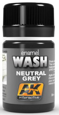 AK Interactive  Washes Neutral Grey Wash Enamel Paint 35ml Bottle AKI677