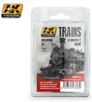 AK Interactive  AK Enamel Trains: Locomotive & Wagon Weathering Enamel Paint Set (3 Colors) 35ml Bottles AKI7000