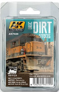 AK Interactive   N/A Train Series: Basic Dirt Effects Weathering Enamel Paint Set (3 Colors) 35ml Bottles AKI7020