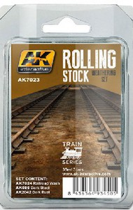 AK Interactive   N/A Train Series: Rolling Stock Weathering Paint Set (3 Colors) 35ml Bottles AKI7023