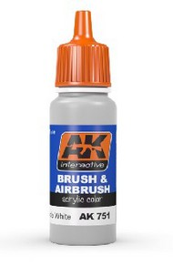 AK Interactive  AK Acrylic Washable White Acrylic Paint 17ml Bottle AKI751