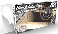 AK Interactive  AK Acrylic Cars & Civil Vehicles Series: Black & Cream White Interiors Acrylic Paint Set (6 Colors) 17ml Bottles AKI9010