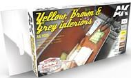 AK Interactive  AK Acrylic Cars & Civil Vehicles Series: Yellow, Brown & Grey Interiors Acrylic Paint Set (6 Colors) 17ml Bottles AKI9020