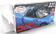 AK Interactive  AK Acrylic Cars & Civil Vehicles Series: Red & Blue Interiors Acrylic Paint Set (6 Colors) 17ml Bottles AKI9030