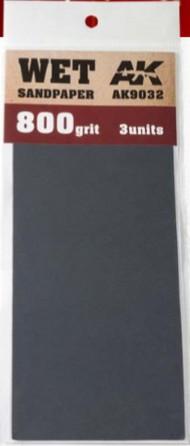 AK Interactive  AK Acrylic Wet Sandpaper Sheets 800 Grit (3) AKI9032