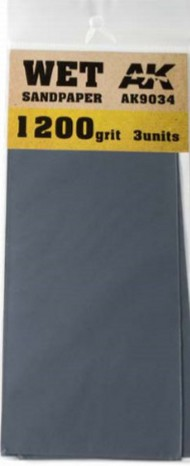 AK Interactive  AK Acrylic Wet Sandpaper Sheets 1200 Grit (3) AKI9034