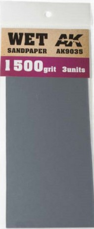 AK Interactive  AK Acrylic Wet Sandpaper Sheets 1500 Grit (3) AKI9035