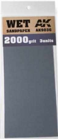 AK Interactive  AK Acrylic Wet Sandpaper Sheets 2000 Grit (3) AKI9036