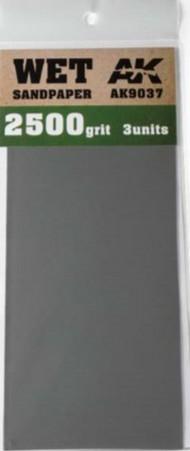 AK Interactive  AK Acrylic Wet Sandpaper Sheets 2500 Grit (3) AKI9037