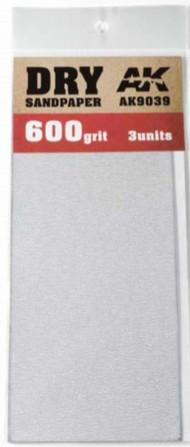 AK Interactive  AK Acrylic Dry Sandpaper Sheets 600 Grit (3) AKI9039