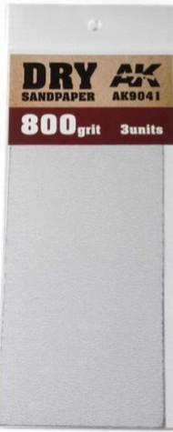 AK Interactive  AK Acrylic Dry Sandpaper Sheets 800 Grit (3) AKI9041