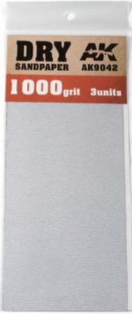 AK Interactive  AK Acrylic Dry Sandpaper Sheets 1000 Grit (3) AKI9042